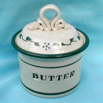 Butter Crock/Green Leaf